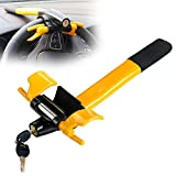 Car Steering Wheel Lock Anti Theft Locking Security Device Security T-Lock for Cars Vehicles Van Lorry SUV Yellow/Black 2 Keys