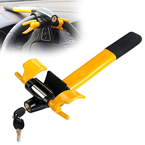 Car Steering Wheel Lock Anti Theft Locking Security Device Security T-Lock for Cars Vehicles Van Lorry SUV Yellow/Black 2 Keys