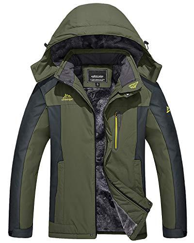 KEFITEVD Veste d'hiver pour homme, imperméable, chaude, doublée, veste de ski pour l'extérieur, coupe-vent, respirante, veste de travail avec capuche amovible. - - XL