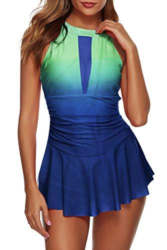 Urchics Womens Two Piece Swimdress High Neck Mesh Plunge Tankini Swimsuit Green Print M