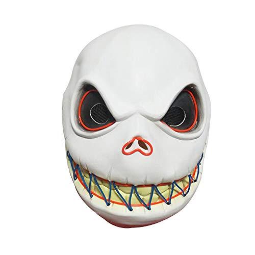 Rrunzfon Esqueleto Jack máscara de Miedo Esqueleto Máscara Cosplay Luminoso de la Novedad del Partido del Traje de Halloween Props batería no incluida
