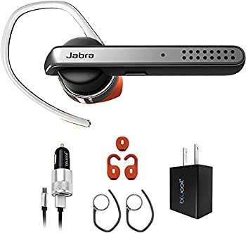 Jabra Talk 45 Bluetooth in-Ear Headset with Noise Cancelling Mic for Android and iOS Bundle with Blucoil Micro USB Car Charger and USB Wall Adapter