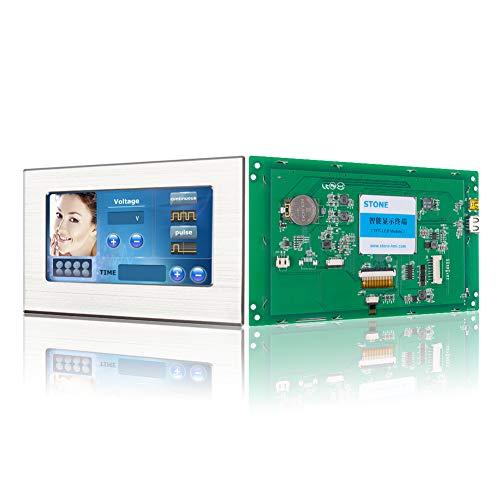 SCBRHMI Módulo de pantalla LCD HMI Smart TFT de 5,6 pulgadas con controlador, programa, monitor táctil, interfaz UART y marco de metal.