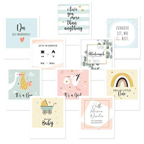 dedeco 20x Postkarten Grußkarten im Polaroid-Format, Spruchkarten, Geschenkkarten, Motivkarten Glückwunschkarten Kartenset mit Sprüchen Hochzeit, Geburt, Liebe, 12x10 cm, Rückseite zum Gestalten