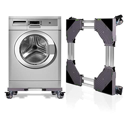 SMONTER Soporte para lavadora con pedestal deslizante y marco para frigorífico, multifuncional y ajustable, para secadora o congelador, 4 ruedas, color gris
