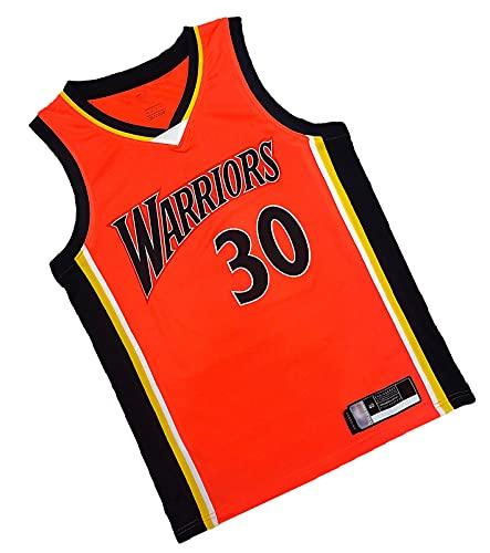 MIOERT Uniforme de Baloncesto, Stephen Curry, Warriors El Jugador más valioso # 30, Camiseta de poliéster Premium, Fans de Baloncesto de Color Naranja Jersey, Adecuado para XL
