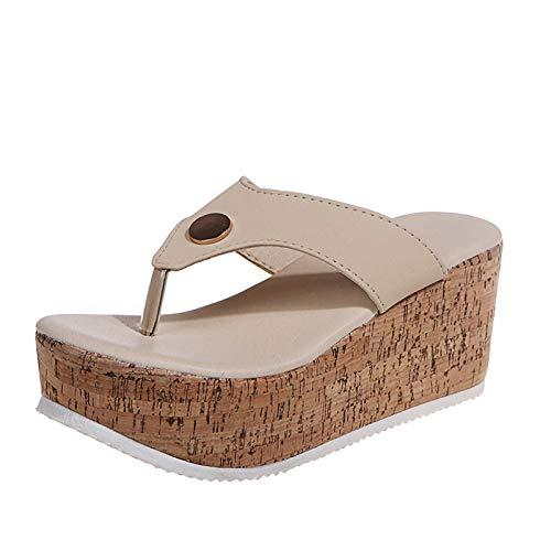 URIBAKY - Sandalias para mujer, transpirables, con tacón compensado, zapatillas de ocio al aire libre, Beige (beige), 39 EU