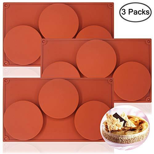 REYOK 3-Cavity rund Silikon Disc Kuchen Form,3 Pack 6 Hohlraum runde Silikonform Silikonform Silicone Mould zur Herstellung von handgemachter Seife, Schokolade, Seifenkerzen Süßigkeiten Brown