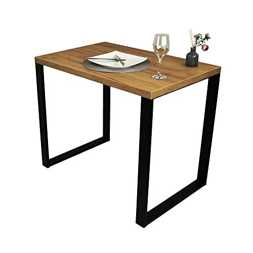 POKAR Mesa De Comedor Mesa De Cocina Mesa De Comedor Sólida con Patas De Metal Negro 90 x 60 cm, Roble Artesanal Dorado