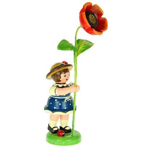 Hubrig Blumenmädchen 11cm Blumenkind mit Mohnblume Erzgebirge
