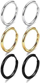 Monooc 316L Surgical Stainless Steel Hoop Earrings