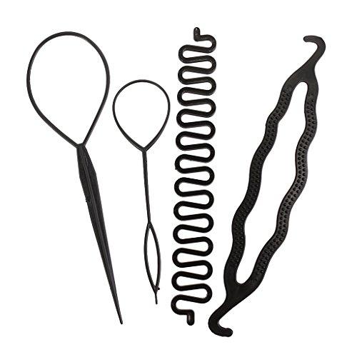 4pcs Frauen Mädchen Haar-Styling-Clip-Stick Brötchenhersteller Geflecht Werkzeug