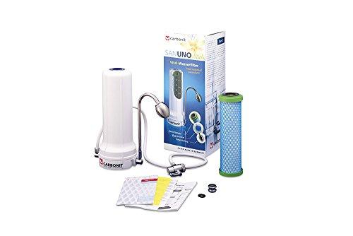 Carbonit Wasserfilter SANUNO Vital | Auftischgerät mit TÜV-geprüftem Aktivkohlefilter NFP Premium | Anschlussfertiges Trinkwasser-Filtersystem inkl. Wasserwirbler | Qualität ― Made in Germany