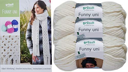 Gründl Funny 3x100g Softgarn SB Pack inkl. Häkelanleitung Schal gehäkelt mit Fransen aus 100% Polyester (3er Set 05 Creme)