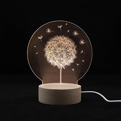 szzyxydd 3D Lampe,3D-Illusionslicht, Led-Kindernachtlicht USB-Netzteil, Massivholzsockel, Kinderweihnachten, Neujahr, Geburtstagsgeschenk, Löwenzahn