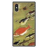 ブレインズ iPhone 8Plus 7Plus 耐衝撃 強化ガラス 四角 ケース 若冲 F 群魚図 jakuchu 日本 japan japanese 和 和風 ガラスケース スクエアタイプ