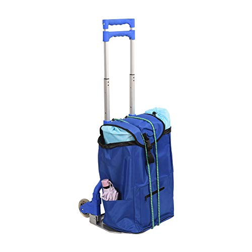 Sundale Outdoor Folding Hand Truck w/Wheels, Hook and Bag Durable Utility Cart Retractable Portable Grocery Cart for Luggage, Shopping, Office Use, Heavy Duty Aluminum Frame, 155-Pound Capacity,Blue
