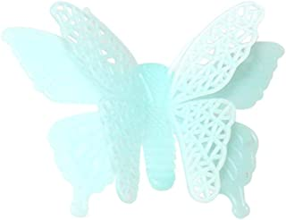 Vacally 6pcs 3D Wall Stickers Luminous Butterflies Skin Wall Sticker Decorative Glow in The Dark Art Living Room Bedroom Background Home Decor