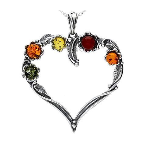 MILENA Pendant Necklace Silver and Baltic Amber - Multicolour Heart