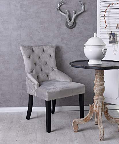 Unbekannt Polsterstuhl mit Ring Esszimmerstuhl grau Sessel Retro Stuhl Küchenstuhl Samt Palazzo Exklusiv