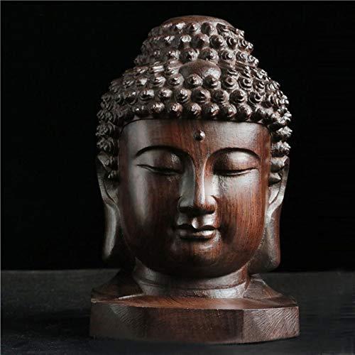 Decoración de la estatua de Buda La madera de agar Shakyamuni Tathagata Negro la cabeza de Buda Tallado en madera Adornos consagrar la estatua de Buda artesanía de madera Adornos Decoración hogareña
