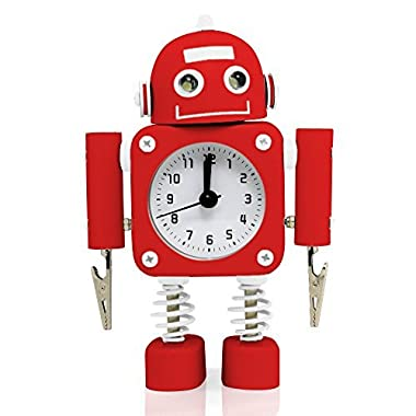 Betus Non-ticking Robot Alarm Clock Stainless Metal - Wake-up Clock with Flashing Eye Lights and Hand Clip - 4.5  x 6.5  x 2  (Ruby Red)