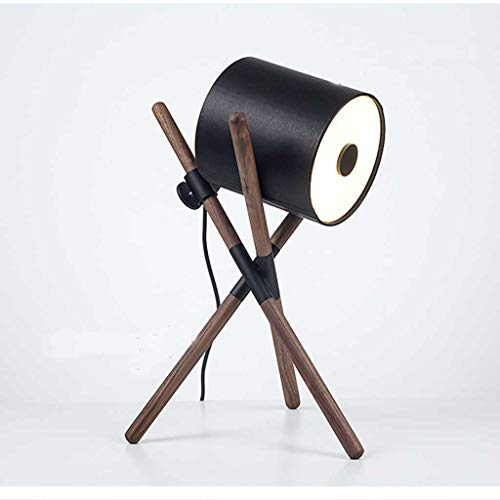 SYM Nordic woonkamer decoratieve lamp slaapkamer modern notenhout zwart minimalistisch nachtkastje solide tafellamp van hout T-20-4-21