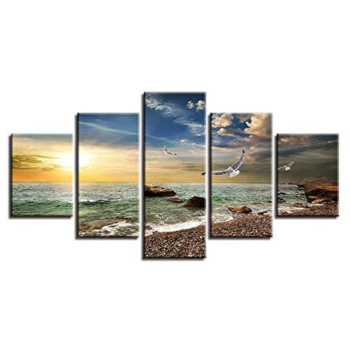 WRZWRM Druck leinwand dekor zimmer wandkunst 5 stücke möwe und riff stein sonnenschein seelandschaft gemälde modulare hd poster