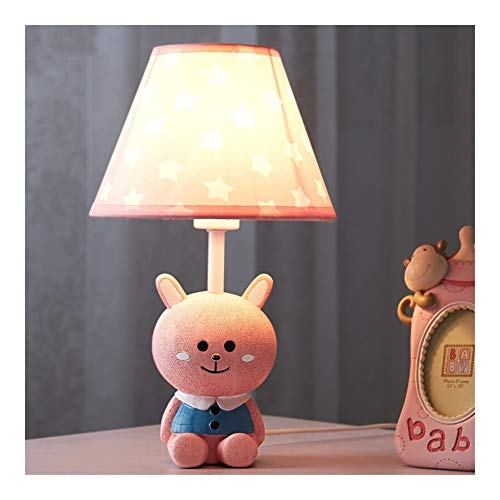 Wgxssjc Lámparas de Mesa Conejo Rosado Creativo de Dibujos Animados Lámpara de Mesa niñas Dormitorio habitación de los niños de la lámpara Simple Moderna lámpara de Mesa Animal Color de LED