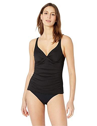 Anne Cole Women's Twist Front Underwire Cup Sized Tankini Swim Top, Black, 34B/32C
