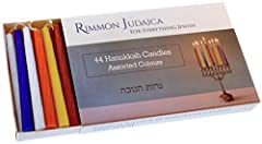 Pack of 44 Hanukkah candles. Enough for all 8 nights of Hanukkah. Suitable for a wide range of menorahs. 5 fun assorted colours. Length: 10cm, Diameter: 0.9cm.