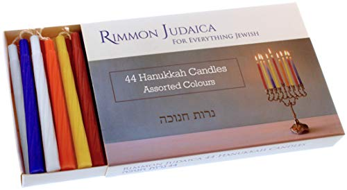 Rimmon Judaica 44 Candele Colorate Hanukkah - Abbastanza per Tutte Le 8 Notti di Hanukkah - La Dimensione Standard Adatta per La Maggior Parte dei Menorah