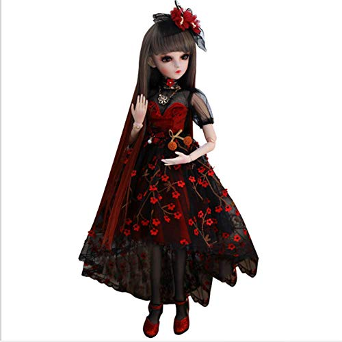 Muñeca BJD Doll 1/3 Muñeca Articulada Ball BJD Lolita muñeca de 24 Pulgadas 1/3 60cm Jointed Doll con Dress Makeup Accessory Peluca Disponible en Tres Estilos,C