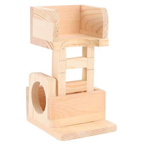 VILLCASE Hamster Kletterturm Holz Haustier Aussichtsturm Plattform Versteck Leiter Spielzeug Chinchilla Ratte Meerschweinchen 13. 5X8cm