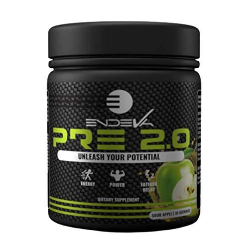 Endeva Nutrition Pre-Workout 2.0 | Increase Energy, Power, Fatigue Delay | Caffeine, Beta Alanine, Citrulline Malate,L-Tyrosine,L- Theanine | Delicious Sour Apple, 30 Servings