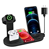 OOTOMI 4 in 1 Wireless Charger, Suitable for The Wireless Charging Station Base of Watch Series Se 6 5 4 3 2 1, Compatible wth Phone 12/12 Mini / 11 Pro Max/SE/X/XR/Xs Max 8/8 Plus
