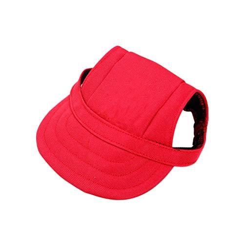 POPETPOP Sombrero para Perros, Gorra de béisbol para Perros/Gorra Deportiva para Perros/Gorra de Visera con Agujeros para los oídos y Correa para la Barbilla para Perros y Gatos-Rojo S