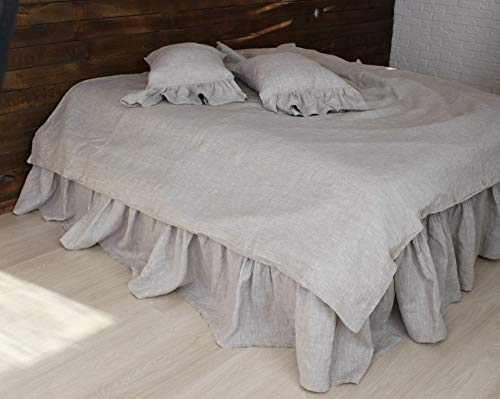 Romantic Pure Linen Bed Skirt with Ruffles - Natural, White, Grey, Forest Green and Mustard Colors