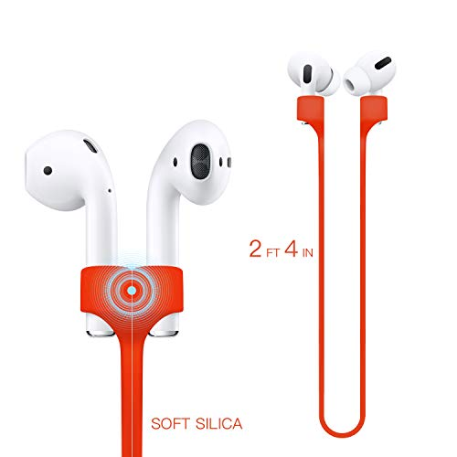 Deexeen Compatible for Magnetic Anti-Lost Strap AirPods 1 2 Pro Accessory - Colorful Soft Sport String Tether Lanyard, Running Silicone Wire Cable Connector, Silica Gel Neck Rope Cord (Straps, Red)