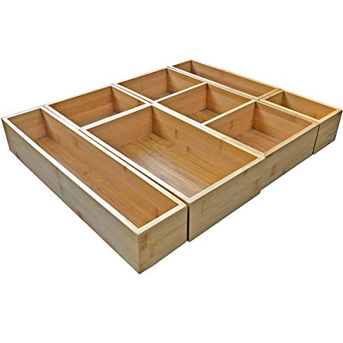 Bamboo Junk Drawer Organizer and 6 Storage Box Dividers Set,8 Compartment Organization Tray Holder for Craft,Sewing,Office,Bathroom.Kitchen …