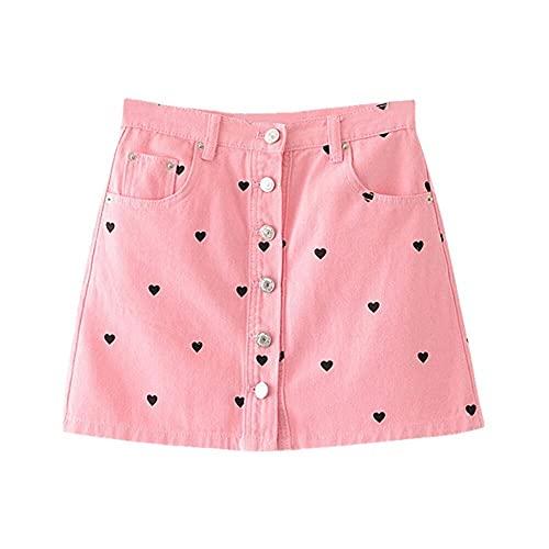 N\P Sweetheart impreso rosa falda mujer invierno cintura alta bolsillo cremallera