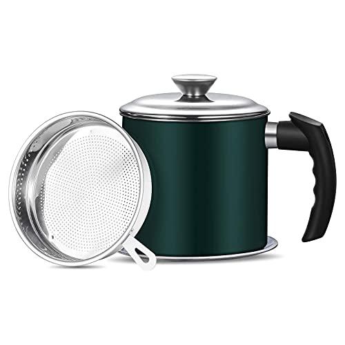 Haosens Cocina Filtro de Aceite 1200ml, 304 Acero Inoxidable Depósito de grasa con filtro - Adecuado para almacenar Aceite de fritura y Grasa de Cocina