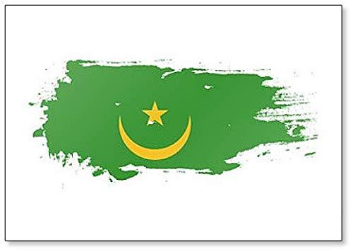 Kühlschrankmagnet Mauretanien Flagge Grunge Brush Stroke Illustration