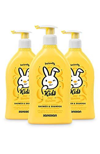 sanosan 2in1 Dusche & Shampoo Banane für Kinder - Duschgel & Haarshampoo mit Bio Olivenextrakt & Milchprotein im 3er Pack (3x 400 ml) - Haarpflege, Hautpflege, Shower Gel, Haar Shampoo