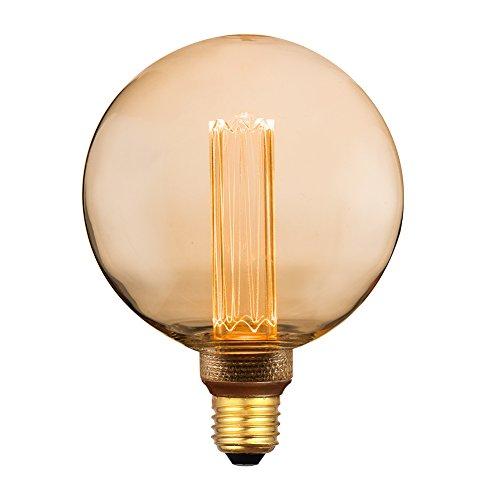 Vintage Round LED Light Bulb, Globe Amber Glass Bulb, Dimmable 3.5W Harwez RN G125/G40, 2000K Warm Lighting, E26 Medium Base, Decorate Restaurant Coffee Shop Kitchen