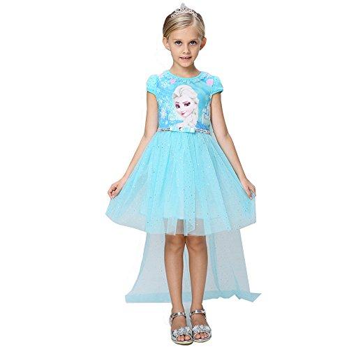 Snow Queen Elsa Princess Girls' Short Sleeve Dress with cape