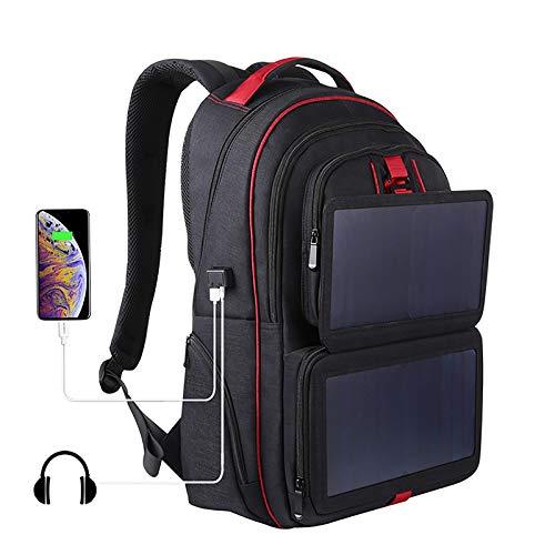 XYBJP 14W Faltbarer Solar Panel Power Rucksack für 15.6 Zoll Laptop Multifunktions Business Bag Diebstahlsicherer Rucksack mit USB Ladeanschluss für Reisen/Outdoor/Wandern