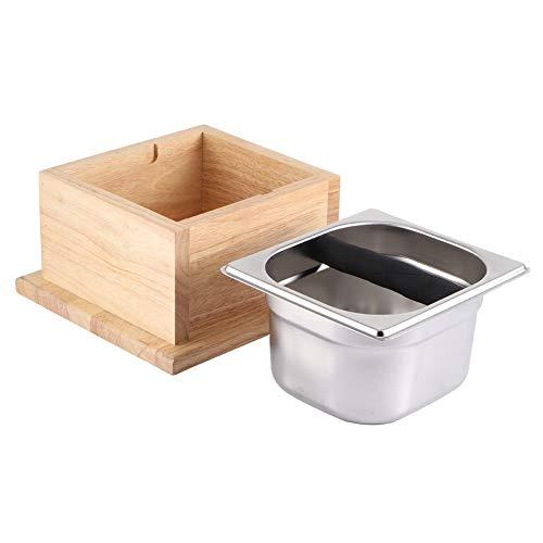 Espressoklopper, roestvrijstalen koffiedik klopbak Emmerbox met houten voet, Koffieklopper voor coffeeshop, melkthee Shop Home