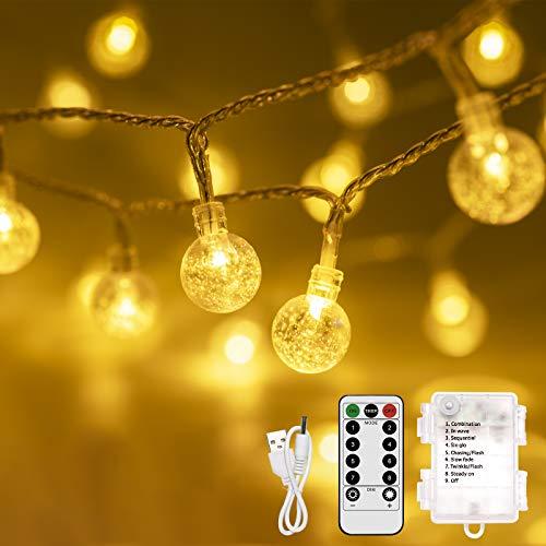 Guirnalda Luces, Infankey 10M 100LED Luces Led a Pilas con Mando a Distancia, 8 Modos/Timer Función/IP44 Impermeable, Cadena de Luces para Jardín, Terraza, Fiesta, Navidad