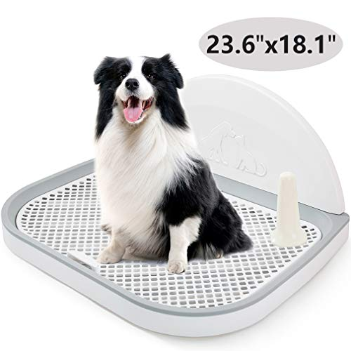 HIPIPET Puppy Dog Potty Tray 23.6''X18.1''X1.9'' Puppy Pad Holder with Removable Post and Wall Cover for Cats and Dogs Toilet (White)